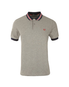 Fred Perry Mens Grey Bomber Stripe Collar Polo Shirt