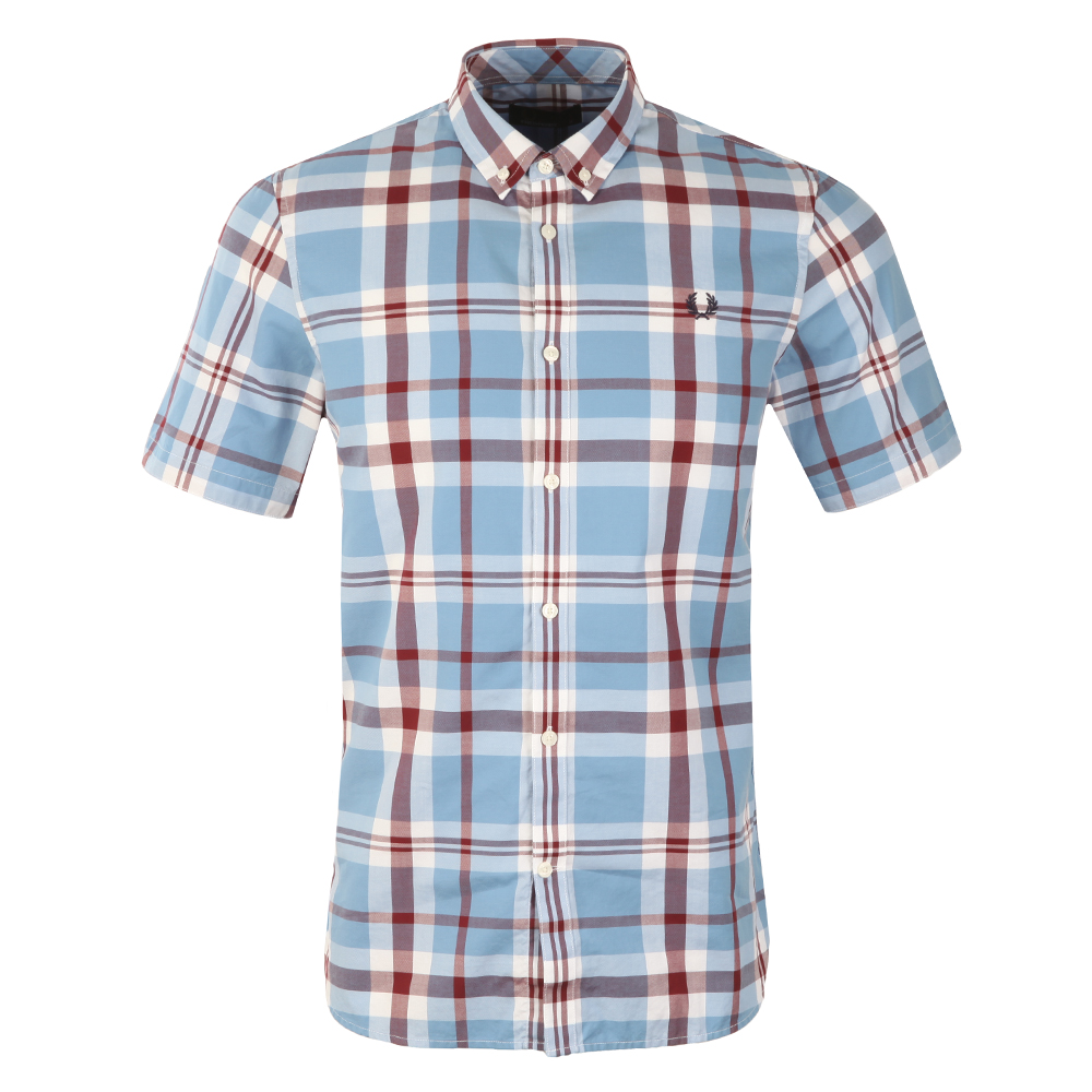 15a85f49d Fred Perry Mens Blue S S Bold Check Shirt