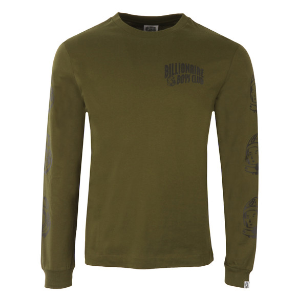 Billionaire Boys Club Mens Green Helmet Print Long Sleeve T Shirt main image