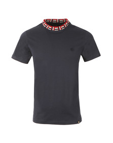 Pretty Green Mens Blue Plecteom Rib Neck T Shirt