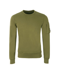 C.P. Company Mens Green Viewfinder Sleeve Crew Sweat