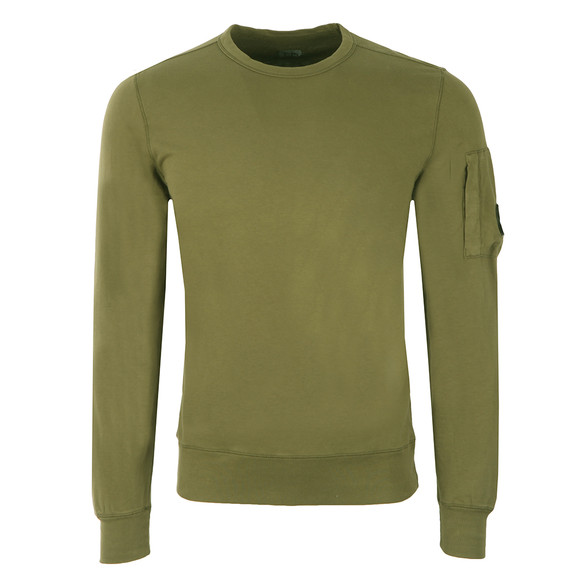C.P. Company Mens Green Viewfinder Sleeve Crew Sweat main image