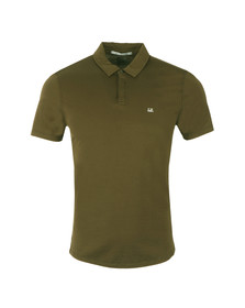 CP Company Mens Green Small Logo Jersey Polo Shirt