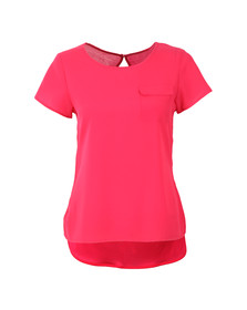 French Connection Womens Pink Classic Crepe Light Crew Neck Top