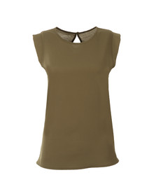 French Connection Womens Green Classic Crepe Light Cap Sleeve Top