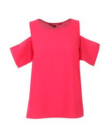 French Connection Womens Pink Classic Crepe Light Cut Out Top