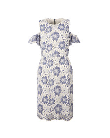 French Connection Womens Blue Antonia Lace Cold Shoulder Dress
