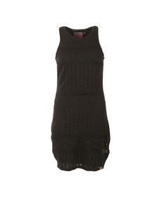 Superdry Womens Black Crochet Knit Bodycon Dress