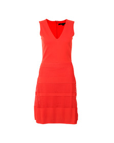 French Connection Womens Red Pleat Lace Jersey Dress
