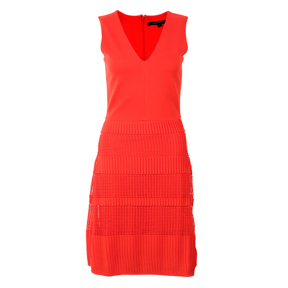 French Connection Womens Red Pleat Lace Jersey Dress main image