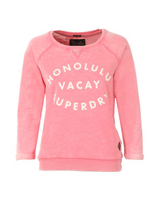 Superdry Womens Pink Burnout Pastel Crew Sweat