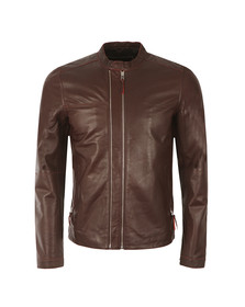 Pretty Green Mens Red Addison Leather Biker Jacket