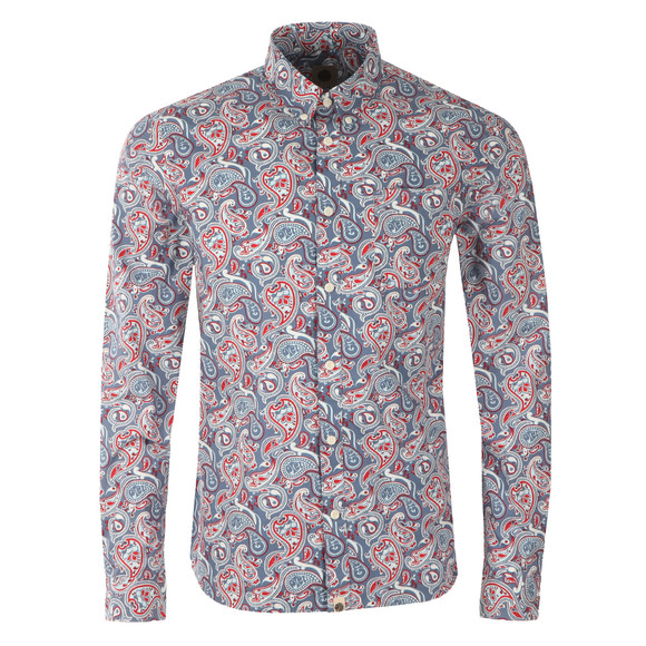 Pretty Green Mens Blue Camley Paisley Shirt main image