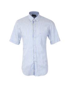 Paul & Shark Mens Blue Linen Mix Short Sleeve Shirt