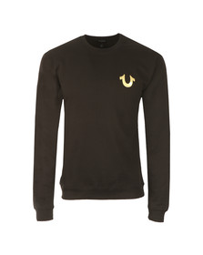 True Religion Mens Black Gold Logo Sweatshirt