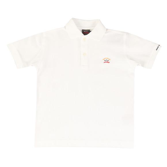 Paul & Shark Cadets Boys White Embroidered Logo Polo Shirt main image