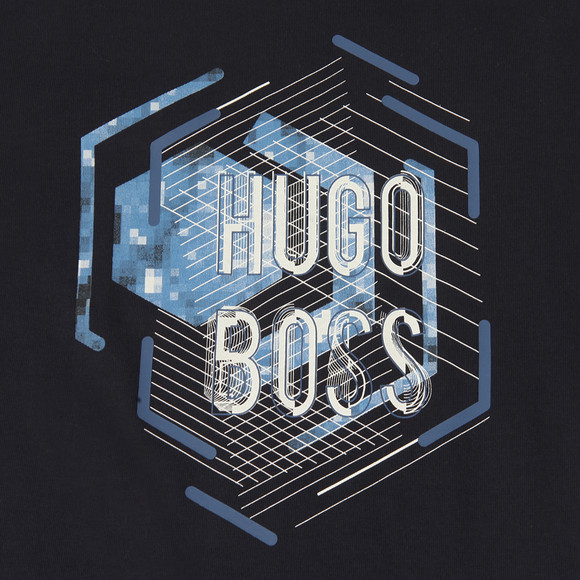 Boss Boys Blue Large Logo Crew Neck T Shirt main image