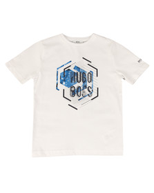 Boss Boys White Boys Large Logo Crew Neck T Shirt