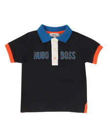 Boss Boys Blue Baby Logo Contrast Collar Polo Shirt