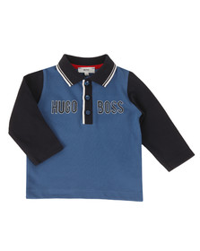 Boss Boys Blue Baby Logo Contrast Collar LS Polo Shirt