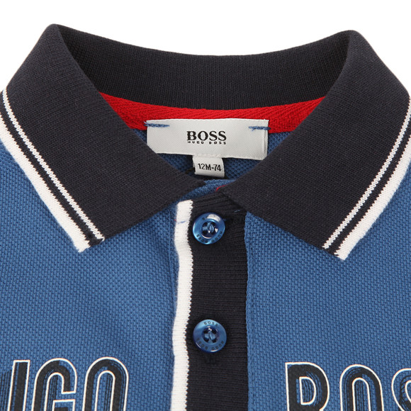 BOSS Baby Boys Blue Logo Contrast Collar LS Polo Shirt main image