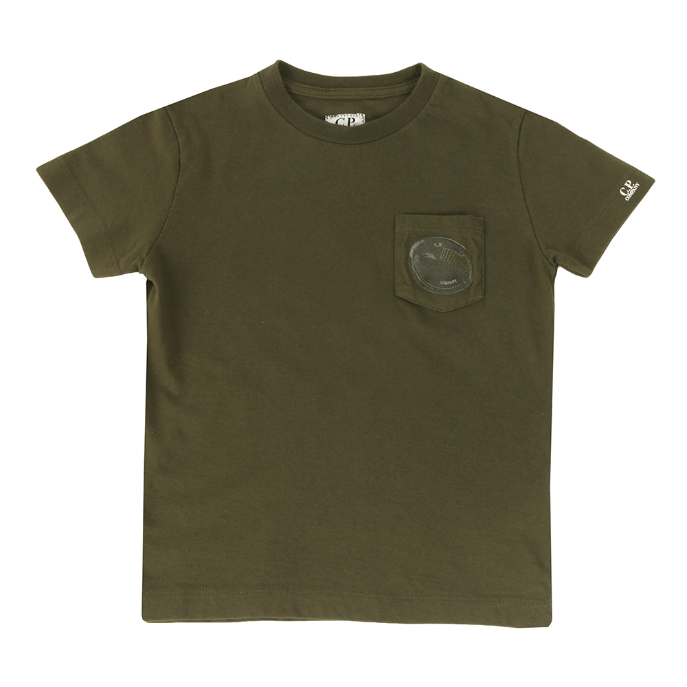 Army green t-shirt with black and grey ptint C.P. Company