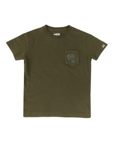 CP Company Undersixteen Boys Green Printed Viewfinder Pocket T-Shirt