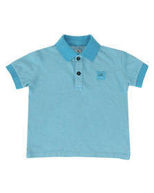 CP Company Undersixteen Boys Blue Contrast Collar Polo Shirt