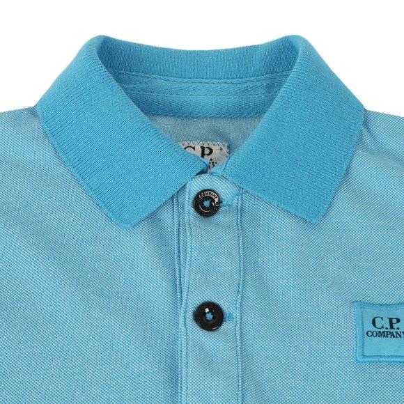CP Company Undersixteen Boys Blue Contrast Collar Polo Shirt main image