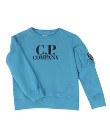 CP Company Undersixteen Boys Blue Logo Viewfinder Sleeve Fleece Sweatshirt
