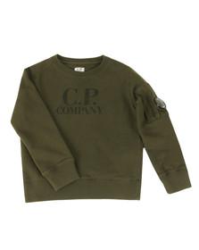 CP Company Undersixteen Boys Green Logo Viewfinder Sleeve Sweatshirt
