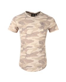 Gym king Mens Beige Long Line All Over Camo Curve Hem T Shirt