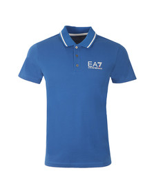 EA7 Emporio Armani Mens Blue Small Logo Pique Polo