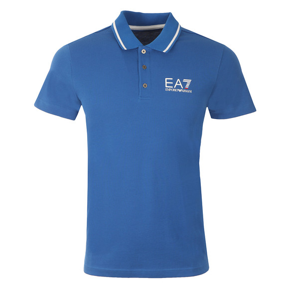 EA7 Emporio Armani Mens Blue Small Logo Pique Polo main image