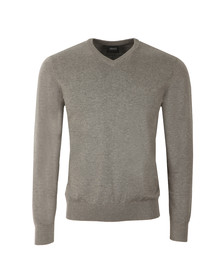 Armani Jeans Mens Grey V Neck Small Logo Jumper
