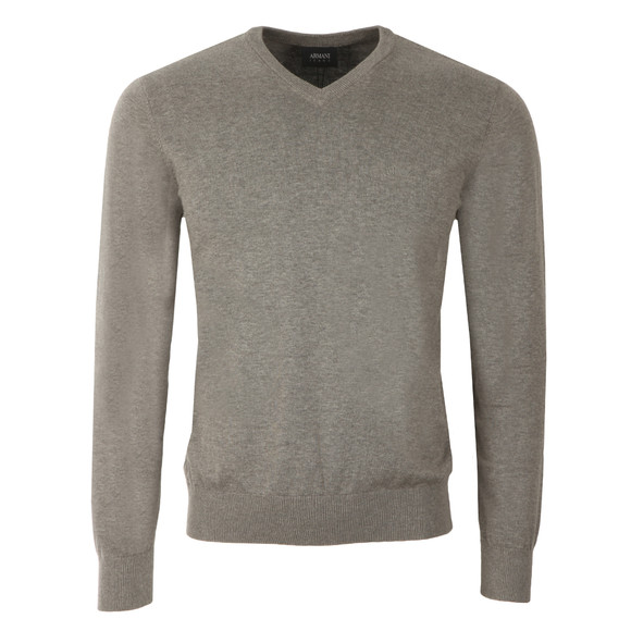 Armani Jeans Mens Grey V Neck Small Logo Jumper main image