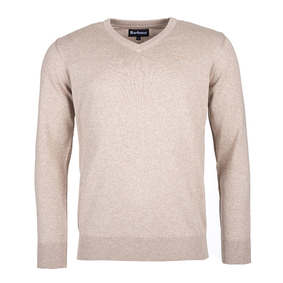 Barbour Lifestyle Mens Beige Pima Cotton V Neck Jumper main image