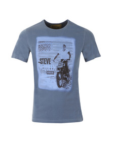 Barbour Steve McQueen Mens Blue S/S Stars And Stripes Tee
