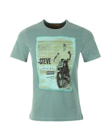 Barbour Steve McQueen Mens Green S/S Stars And Stripes Tee