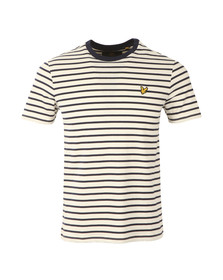 Lyle and Scott Mens Off-white S/S Breton Striipe Tee
