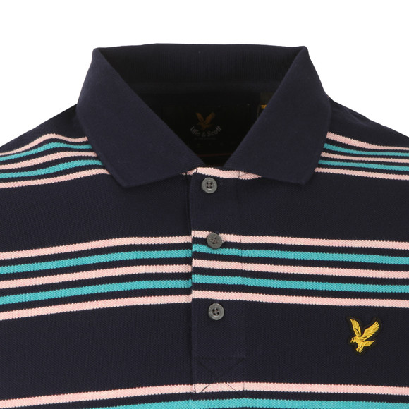 Lyle and Scott Mens Blue S/S Stripe Polo main image