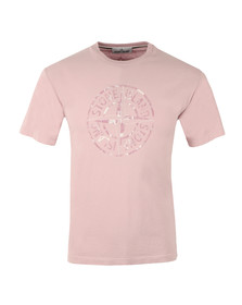 Stone Island Mens Pink Large Logo T Shirt