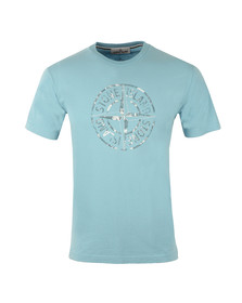 Stone Island Mens Blue Large Logo T Shirt