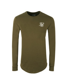 Sik Silk Mens Green Long Sleeve Gym T Shirt