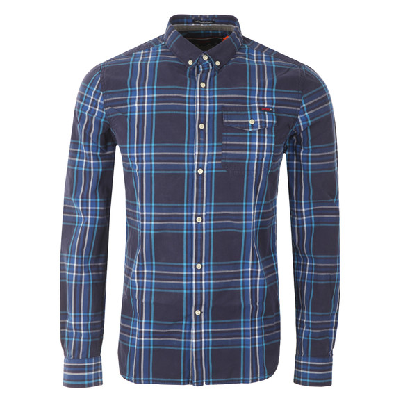 Superdry Mens Blue L/S Washbasket  Shirt main image