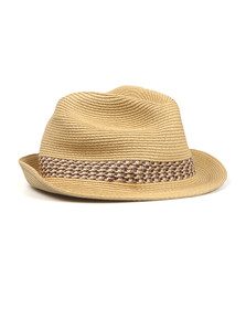 Ted Baker Mens Beige Contrast Band Straw Trilby