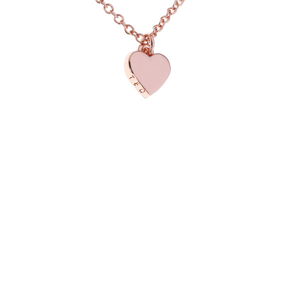 Ted Baker Womens Pink Rose Gold Hara Tiny Heart Pendant main image