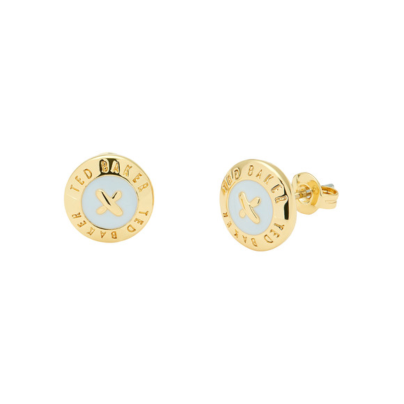 Ted Baker Womens Gold Eisley Enamel Mini Button Earrings main image
