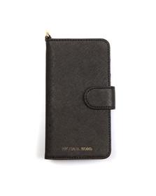 Michael Kors Womens Black Saffiano Leather Folio Phone Case