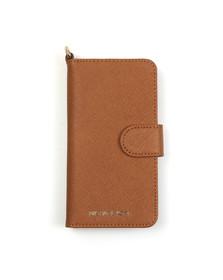 Michael Kors Womens Brown Saffiano Leather Folio Phone Case